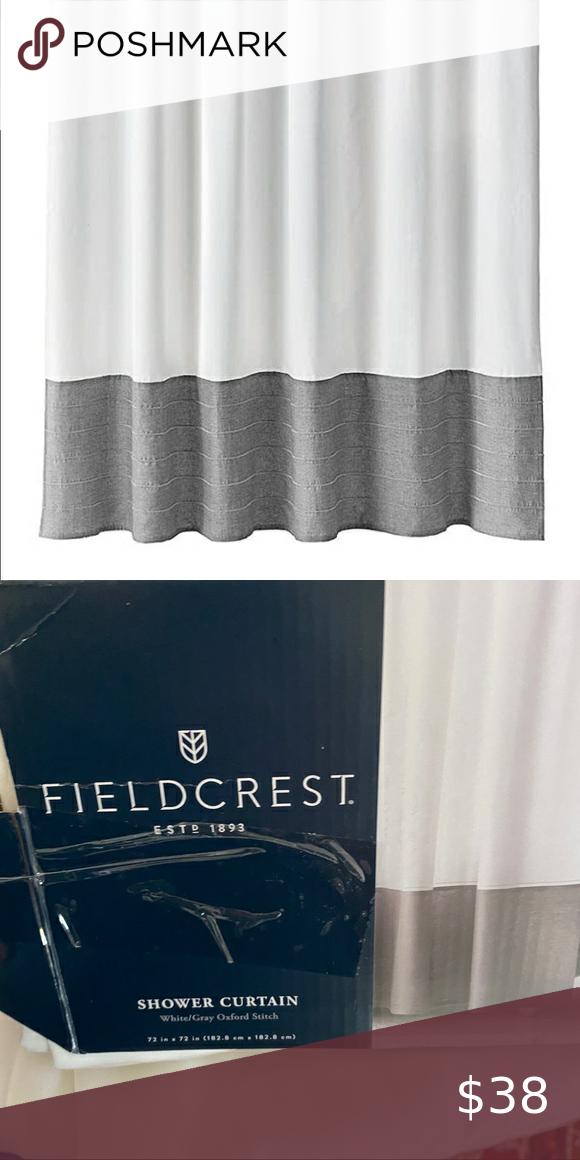 fieldcrest shower curtain white grey