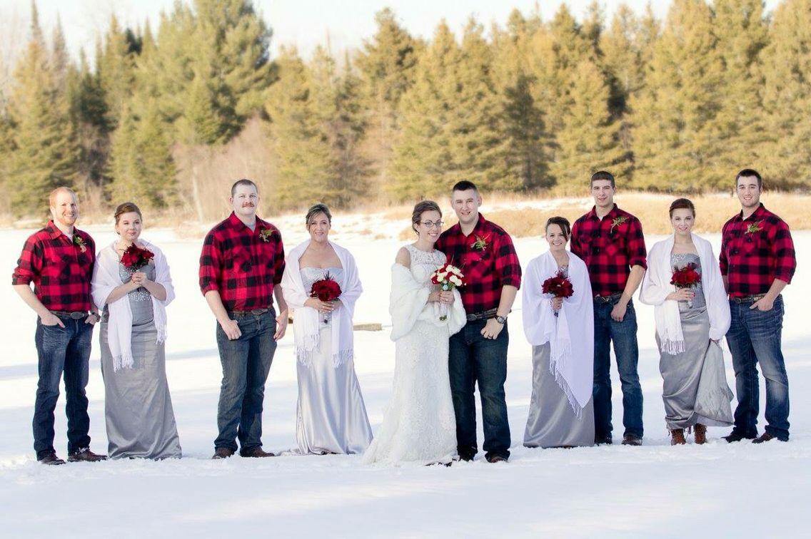 Winter wonderland ❤️ #yooperwedding  #flannelswithdresses