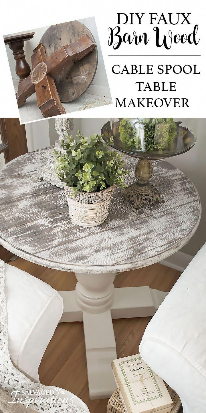 DIY ~ Learn How To Create an Inexpensive Barn Wood Finish. Cable Spool Makeover by Denise at Salvaged Inspirations #homeMakeover #cablespooltables DIY ~ Learn How To Create an Inexpensive Barn Wood Finish. Cable Spool Makeover by Denise at Salvaged Inspirations #homeMakeover #cablespooltables