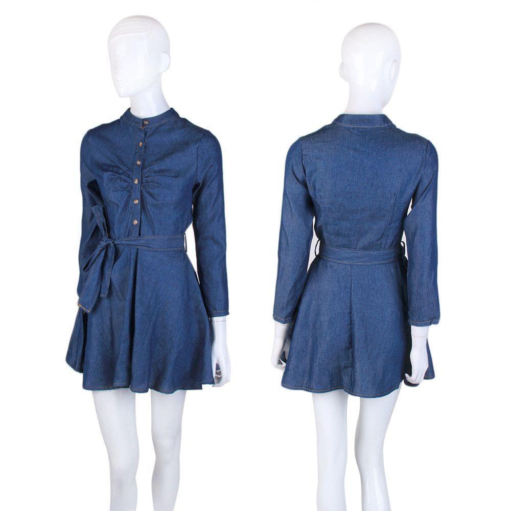 Slim fit denim long sleeve shirt dress products