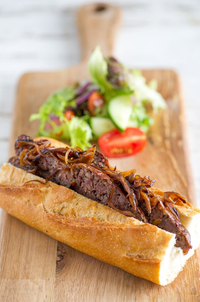 Baguette sandwich with Spicy Sausages