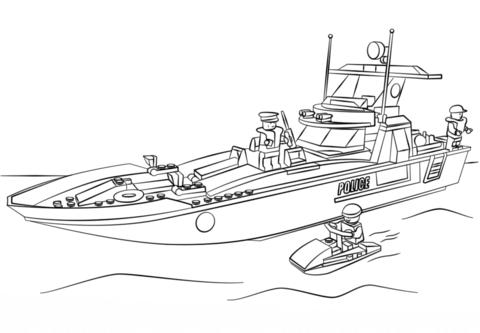 Ausmalbilder Polizeiboot 01