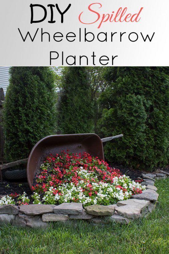 DIY Tipped Wheelbarrow Planter - The Honeycomb Home