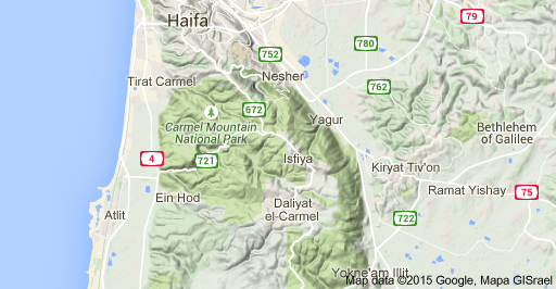 Map of Mt Carmel, Carmel Mountain National Park, Israel   Israel in