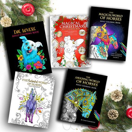 Adult Coloring Book Set 4 Best Selling Books Plus Christmas