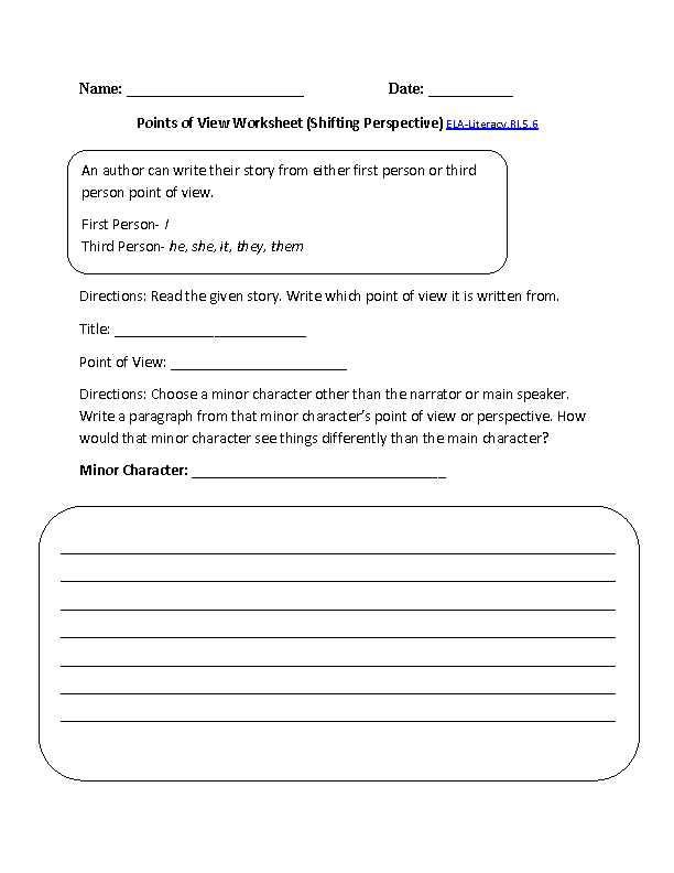 Point Of View Worksheet 1 Ela Literacyri56 Reading Informational