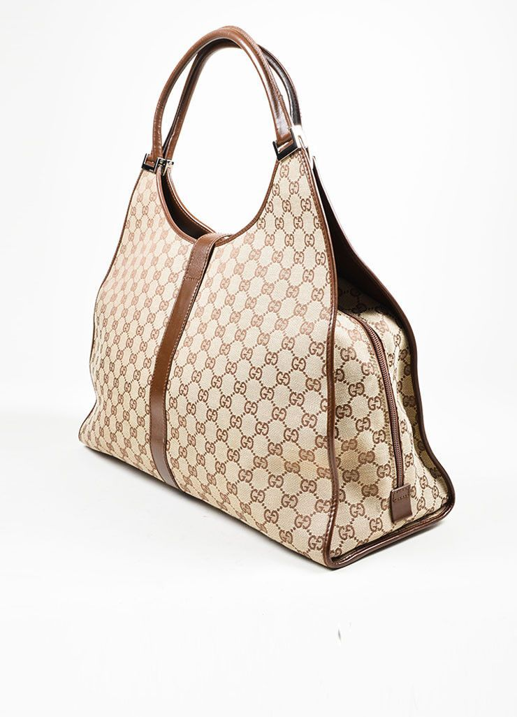 54e0ac156563 Tan and Brown Gucci Monogram Canvas and Leather