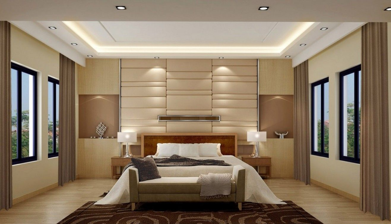 Wall Ideas For Bedroom Soft Glow Of Lights And Neutral Palette Keep This Bedroom Serene