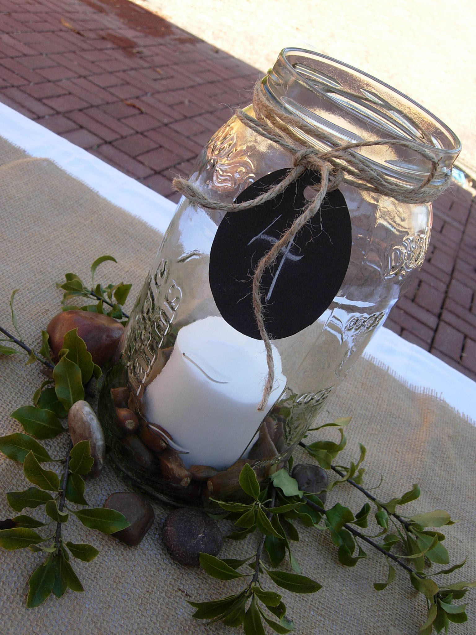 Dr Ideas Table With Pickle Jar Centerpiece With Candle