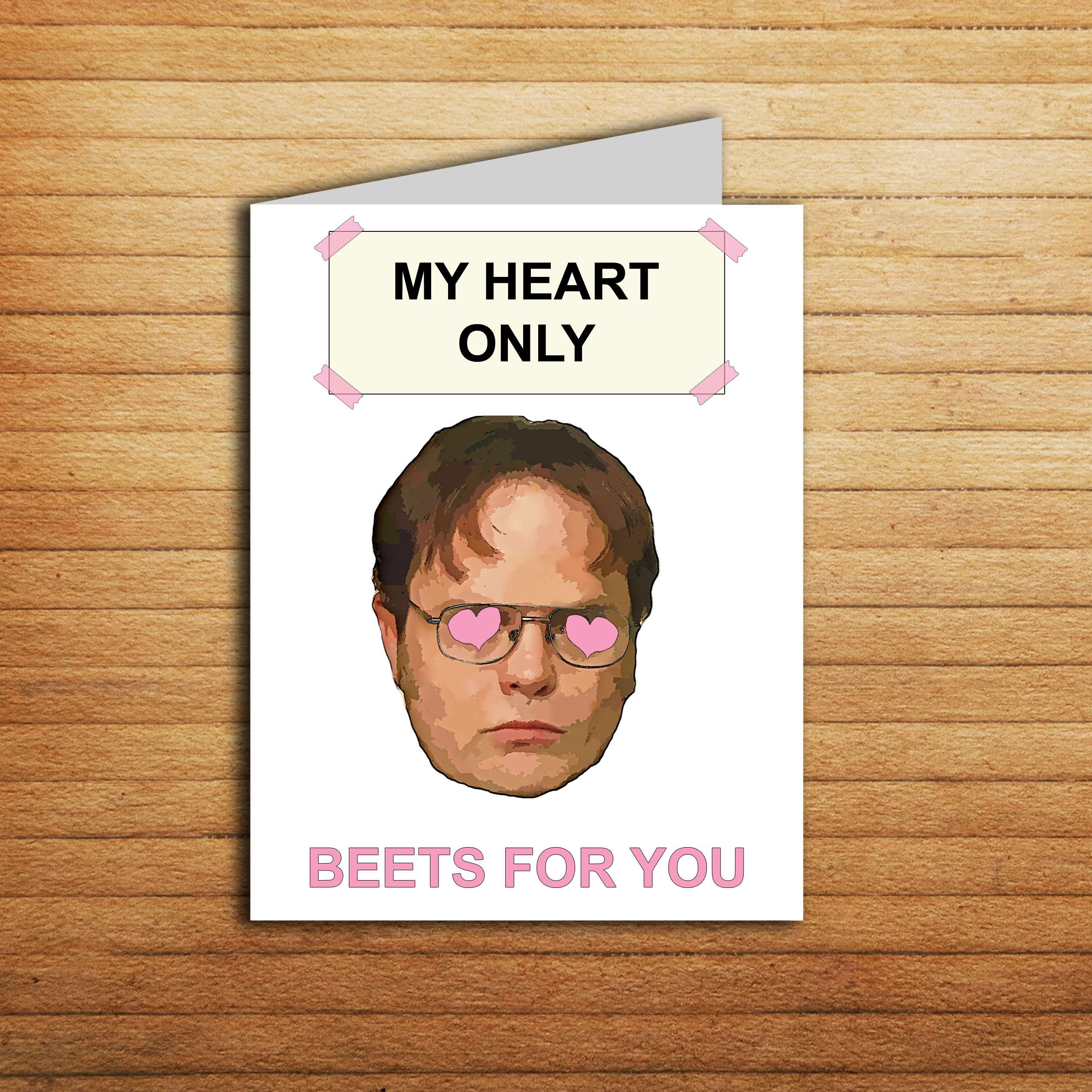 The Office Valentines Day Card Dwight Schrute Beet Valentine Card Funny Anniversary Gift Fo The Office Valentines Diy Gifts For Him Boyfriend Anniversary Gifts The office valentines day card