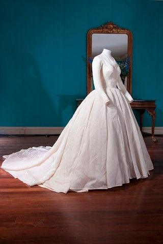 A Simple But Stunningly Effective White Dress Comprising A Fitted Bodice  And A Full Skirt Of Fine Diaphanous Silk.