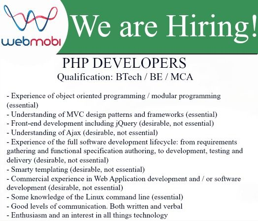 Attention Job-seekers! WebMobi is Hiring PHP Developer! Apply with - job resumes