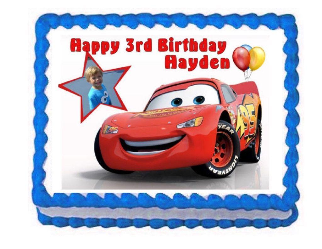 Cars lightning mcqueen edible cake image cake topper