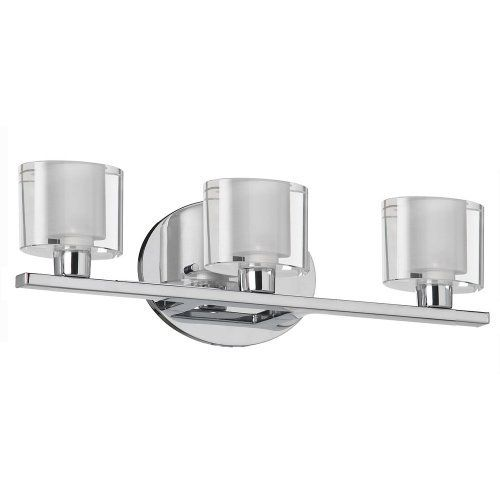 """Dainolite 809-3W-PC 3-Light Vanity with Oval Frosted Glass, Polished Chrome by Dainolite. $220.00. Contemporary style. Clear/frosted oval glass. Polished chrome finish. Oval glass measures 2.5"""" D x 3.5"""" W x 3"""" H. Dimensions: H 5"""" x L 16.5"""" x W 3.5"""". From the Manufacturer                For anyone looking for contemporary brilliance, Dainolite is sure to have the fixture you're seeking. With elegance and originality, their 809-3W-PC fixture is sure to make an impression..."""
