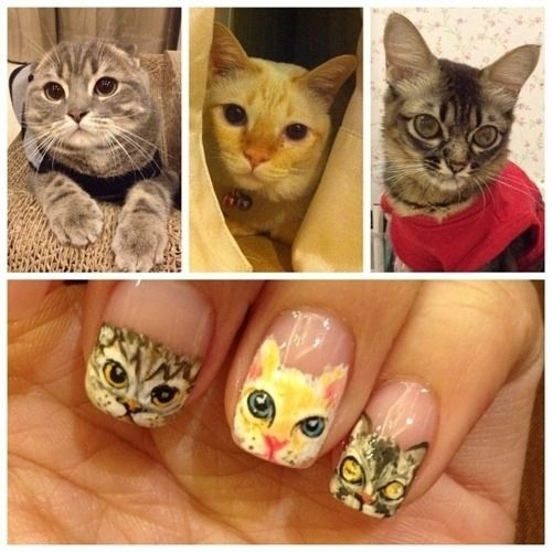 """nothing says 'I'm a crazy cat lady"""" better than painting your cats on your nails"""