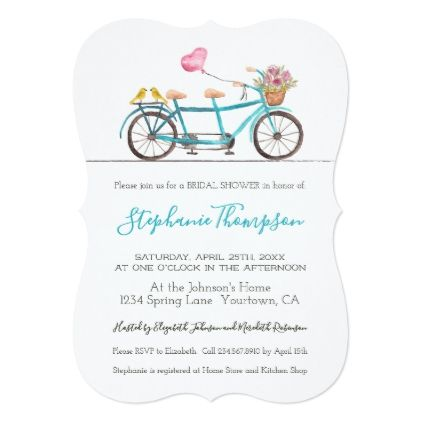 Watercolor tandem bicycle bridal shower invitation pinterest watercolor tandem bicycle bridal shower invitation invitations custom unique diy personalize occasions filmwisefo