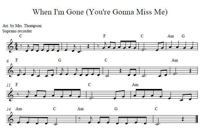 When I M Gone Soprano Recorder Recorder Music Music Lessons