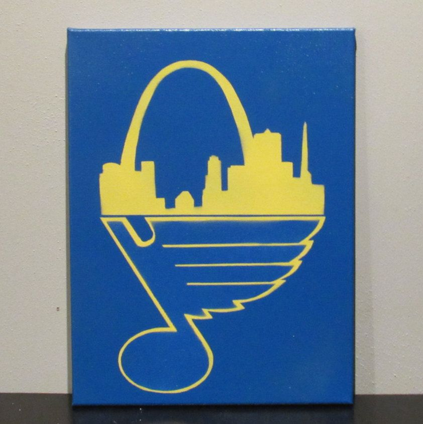 Home And Away Custom Painted St Louis Blues Canvas By Shimmshop On Etsy Painted Saint Easy Canvas Art Diy Christmas Gifts For Friends