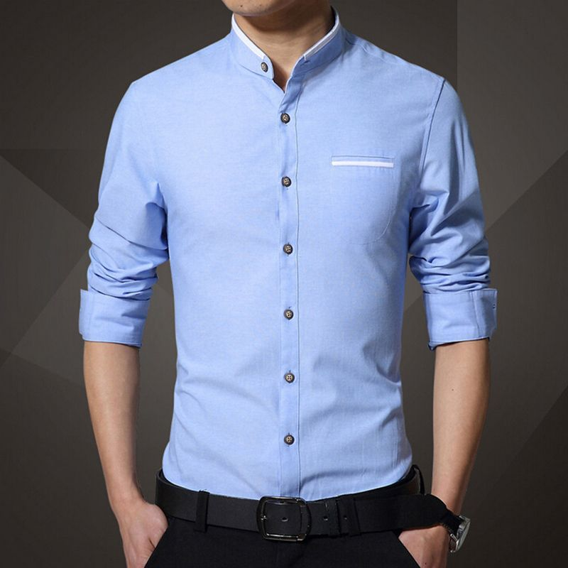 2016 New Brand Men's Casual Shirt Long Sleeve Banded Collar Easy ...