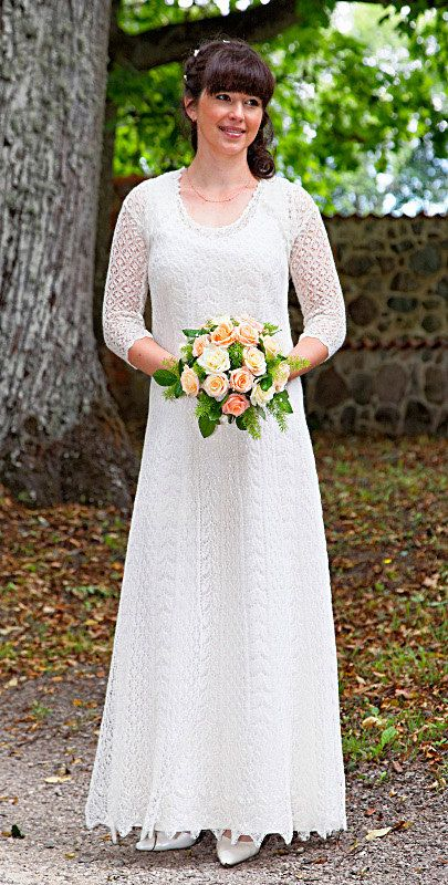 Hand knitted festive wedding dress fine natural white for Crochet lace wedding dress pattern