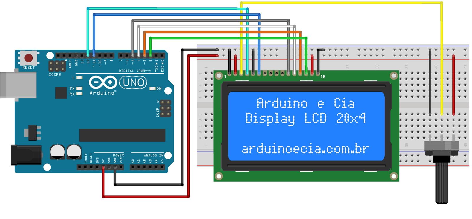 679a882d501e7cb36e43dd1dda4c8b87 circuito arduino e lcd 20x4 electronica pinterest arduino arduino lcd wiring diagram at eliteediting.co