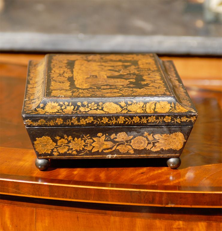 1stdibs | Regeny Penwork Sewing Box with Chinoiserie Decoration ca. 1810