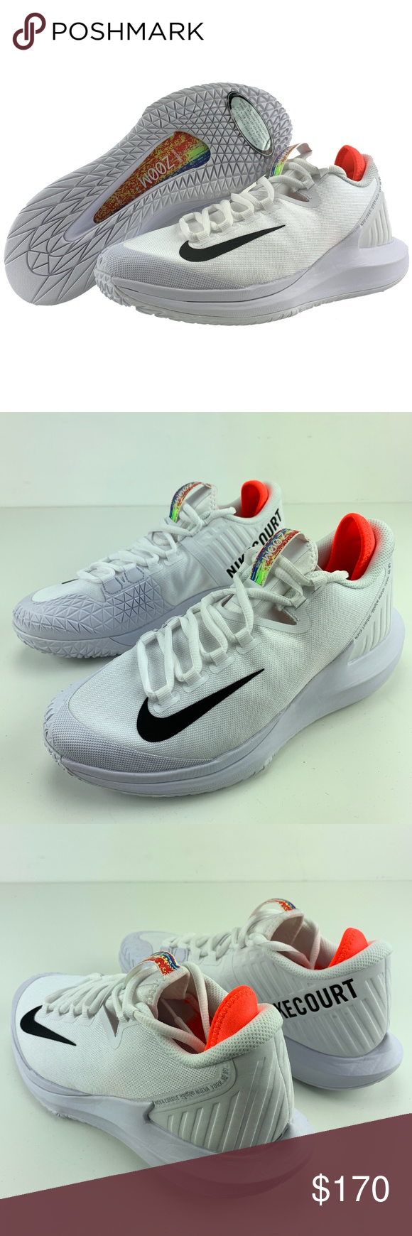 promo code b9f61 28b47 Nike NikeCourt Air Zoom Zero HC Tennis Shoes Nike NikeCourt Air Zoom Zero  HC Tennis Shoes White Black Red Non Marking Outsole Brand New Shoes, Ships  Without ...