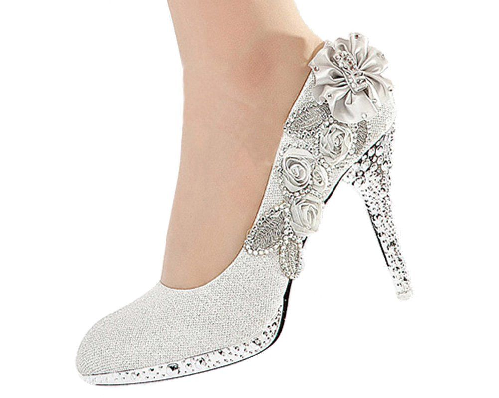ad9bfe689fd5 Getmorebeauty Women s Silver Lace Flower Pearls Closed Toes Wedding Shoes 9  B(M) US