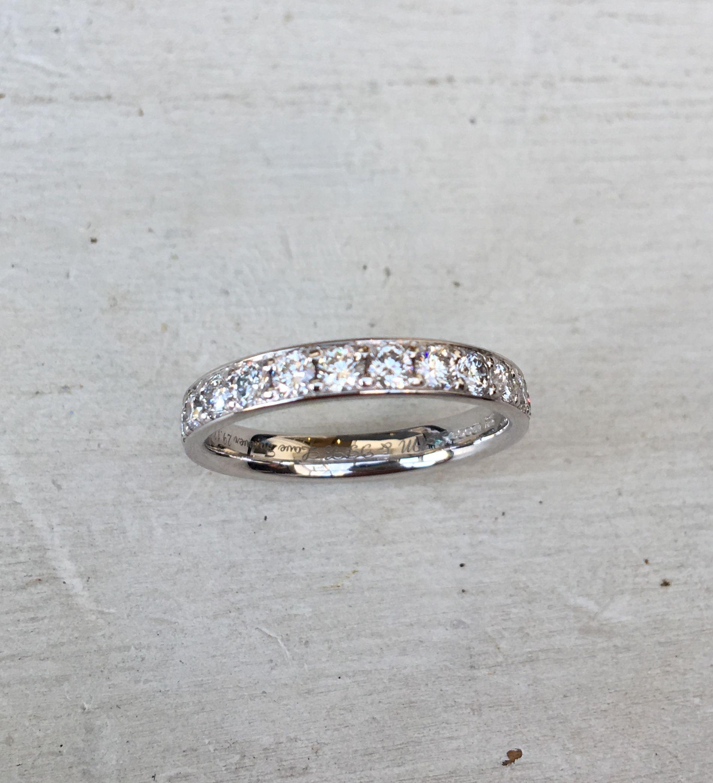 Grain Set 078ct Diamond Wedding Ring 35mm width 18ct White Gold