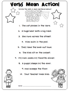 First Grade Blue Skies Verbs Are Action Words Freebie  For The