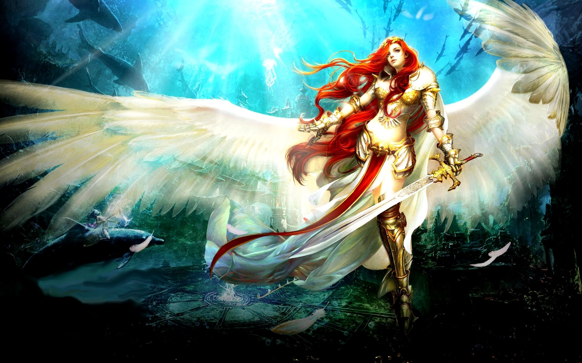 Fantasy Angel Warrior Fantasy Woman Girl Red Hair Wings Sword Armor Wallpaper Angel Warrior Fantasy Art Warrior Warriors Wallpaper