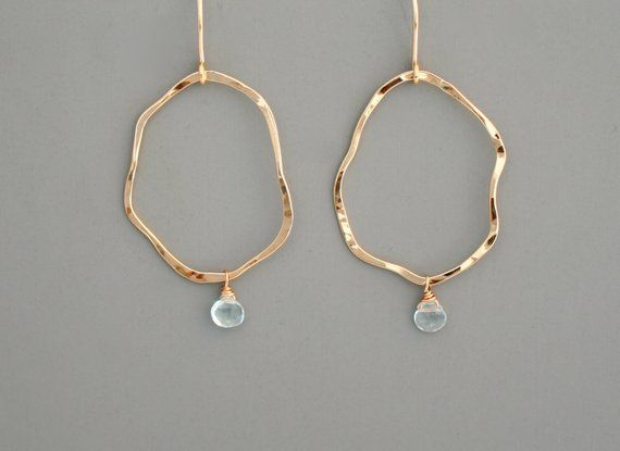 19d2f360312 14k Gold filled or sterling silver organic hoop earrings with pale blue  aquamarine stone drop