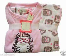 48e4163bae9f Ladies Fleece Pyjamas HEDGEHOG Women Girls Winter PJs Nightwear UK Sizes 6  to 16