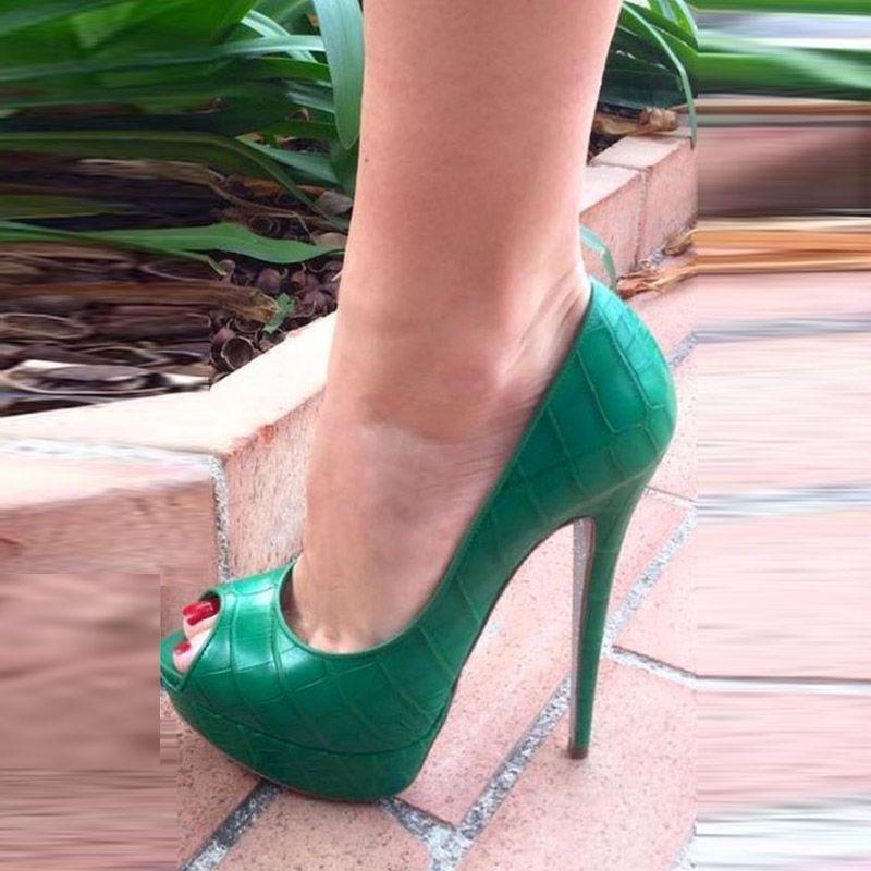 696da6be4c Shoespie Green Peep Toe Platform Stiletto Heels #Stilettoheels ...