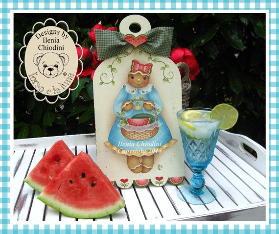 Etsy+の+Painting+pattern+cartaceo+Watermelon+
