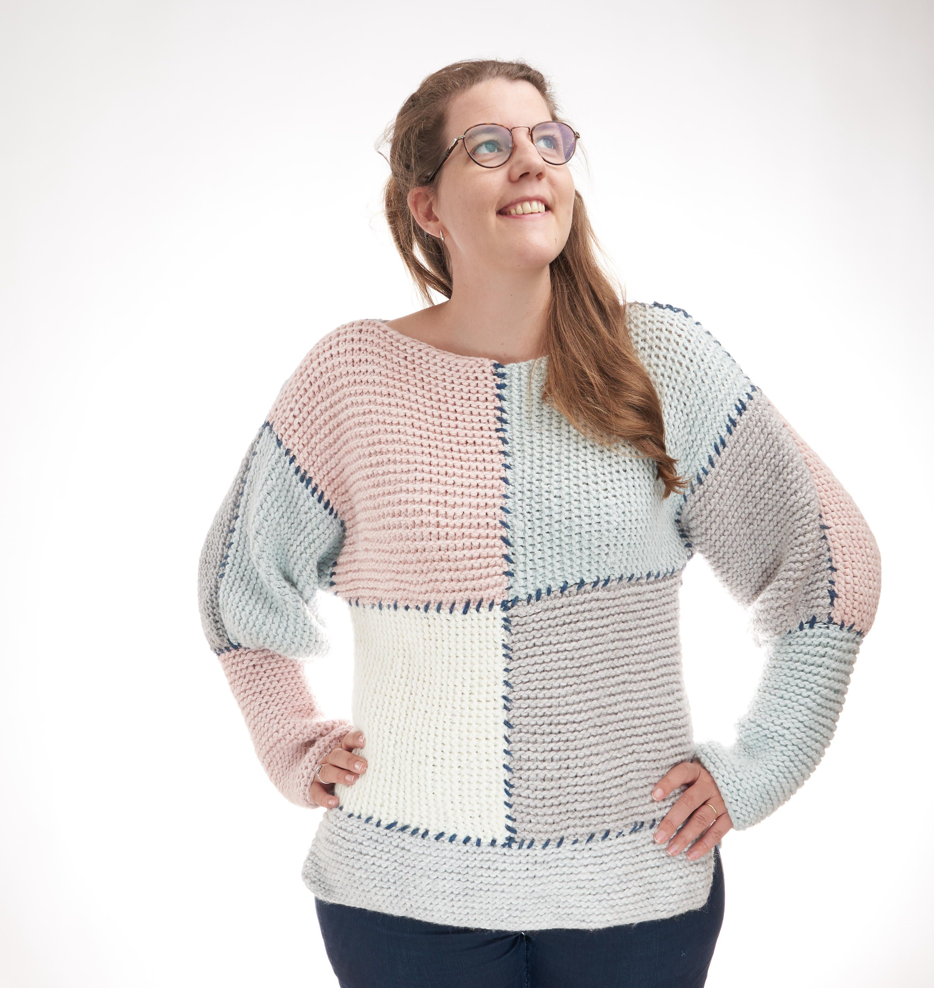 Photo of Block Sweater :  You just started knitting and have never even finished a beginn…