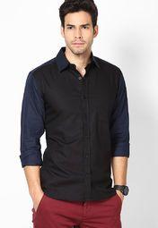 Black Solid Slim Fit Club Wear Shirt