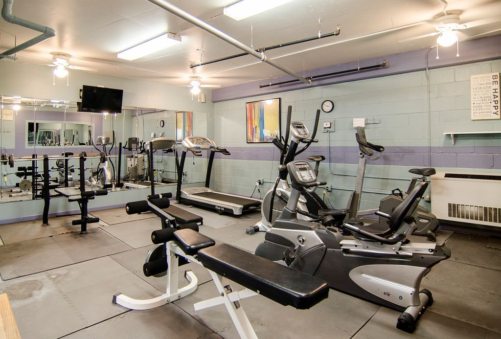 Traditional Home Gym with flush light, High ceiling ...