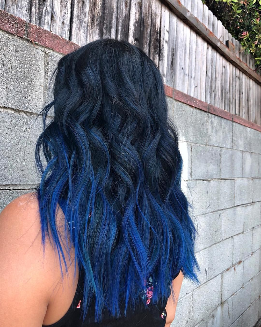 Black Blue Melt Blue Hair Highlights Dyed Hair Blue Blue Black Hair