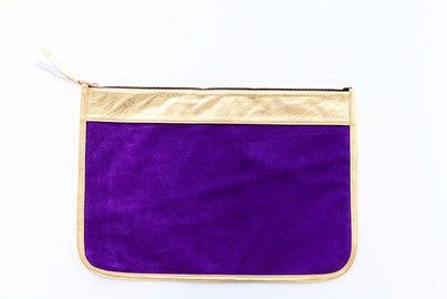LARGE CLUTCH - Purple w/ Gold Trim