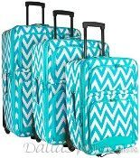 3 Piece Rolling Luggage Set-Teal Chevron Pattern