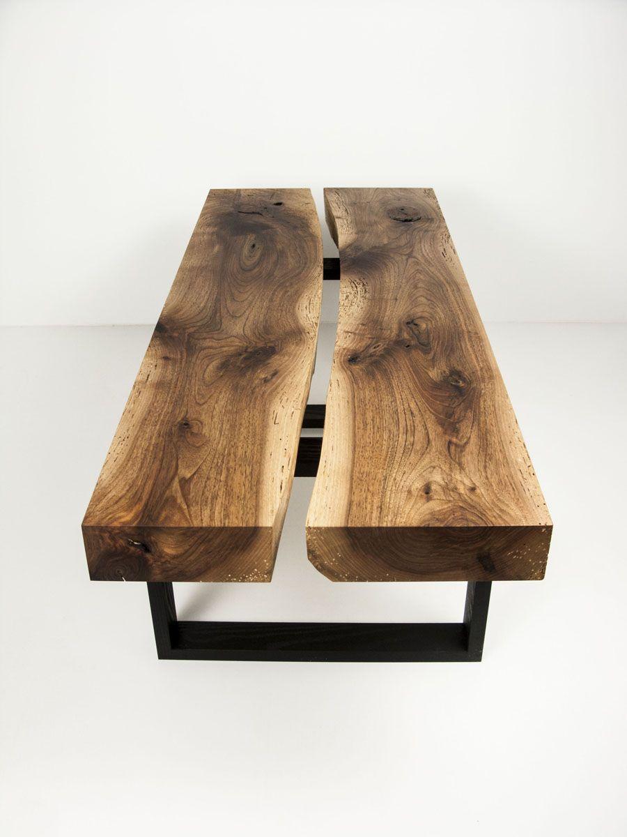 Table Basse En Noyer Massif Brut Pietement En Frene Teinte