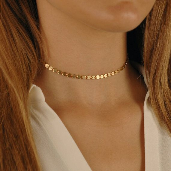 Gold Choker Tiny Coin Necklace Gold Coin Choker Coin Choker Coin Necklace Gift for Boho Girl Delicate Boho Necklace Boho Choker