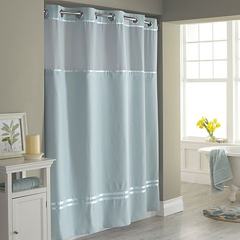 Hookless Escape Fabric Shower Curtain And Snap In Liner Set Extra Long Shower Curtain Blue Shower Curtains Fabric Shower Curtains