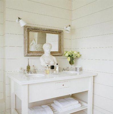 White washed cottage bathroom! White wood paneling in bathroom! Love the  minimalism of this
