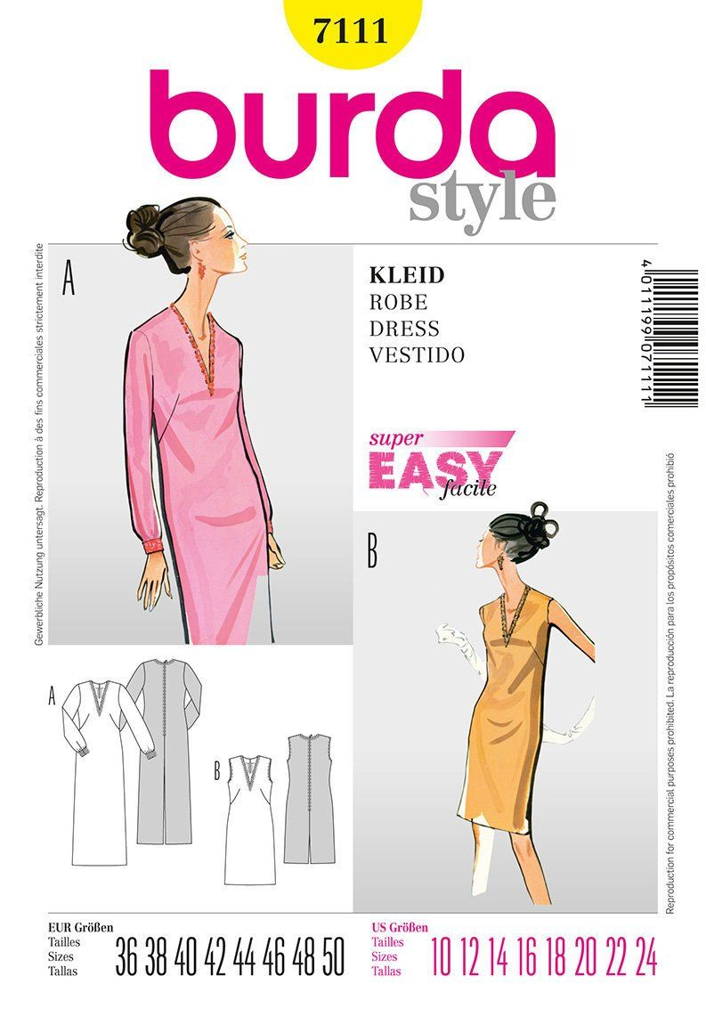 7ec2a90652a3 Burda Pattern 7111, Woman's Fitted Dress, 1960's Understated Style, V Neck,  Sophisticated, Super Easy -Uncut by NeedleandFootSews on Etsy