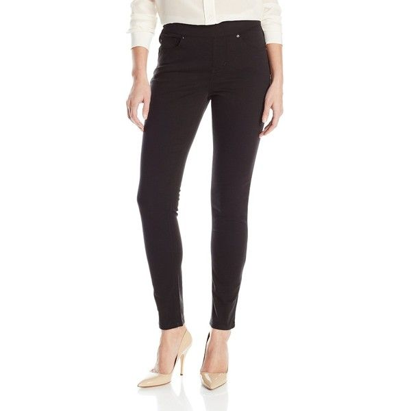 Lee Women's Modern Series Midrise Fit Dream Jean Harmony Pull On... ($40) ❤ liked on Polyvore featuring pants, leggings, lee trousers, mid rise pants, denim trousers, denim leggings and denim pants