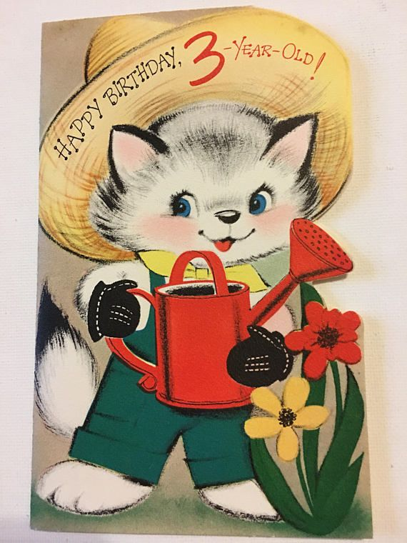 Vintage Birthday Card Three Year Old Kitten Farmer Watering Can