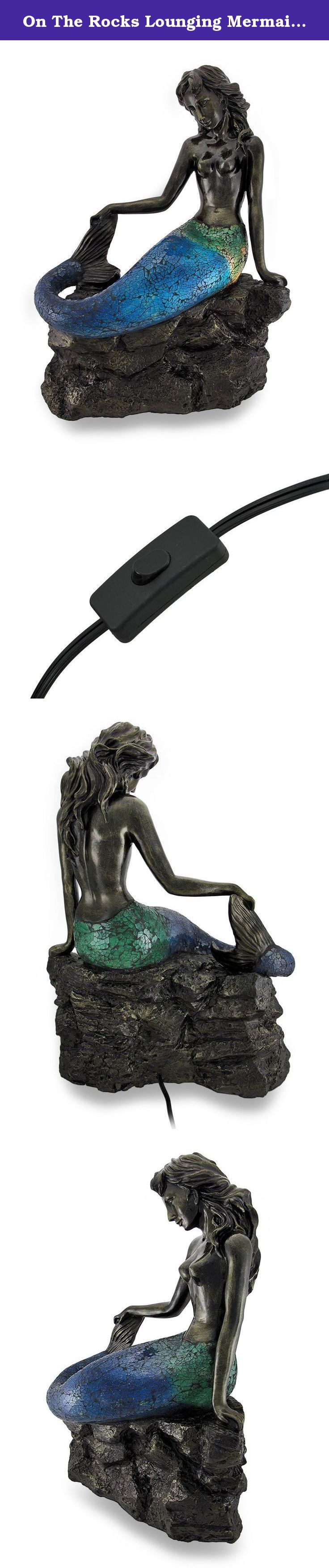 Mermaid accent lamp - On The Rocks Lounging Mermaid Crackled Glass Accent Lamp This Pretty Polished Crackled Glass Mermaid