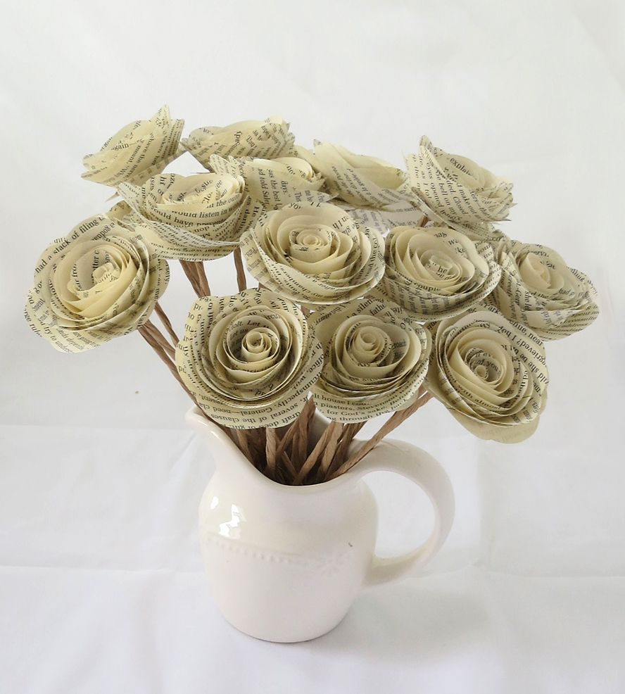 Vintage paper flowers with stems set of 25 vintage paper craft vintage paper flowers with stems set of 25 old book mightylinksfo